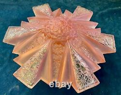 Rare Vintage Art Deco Frosted Pink Ceiling Light Fixture 2 piece Glass Shade