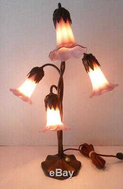Rare vtg JOHN COOK STUDIOS Phoenix LILY LAMP handmade copper & ART GLASS Nouveau
