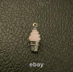 Retired James Avery Sterling Silver Pink Ice Cream Cone Glass Art Finial Charm
