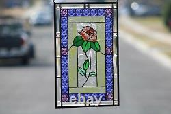 Rose- Beveled Stained Glass Window Panel, Ready to Hang 21 x 13 3/8