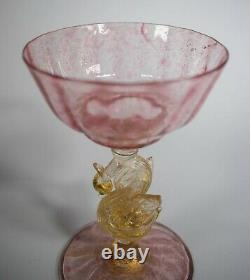 Salviati Venetian Murano Champagne Glass, Pink/Gold