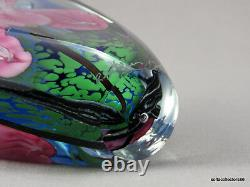 Satava Paperweight Type Perfume Bottle Faceted with Pink Irises 1993