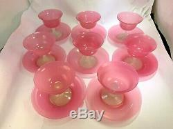 Scarce Steuben Carder #2680 8 Sherbet & 8 Plates Rosaline Pink & Alabaster