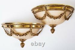 Set of 2 Antique French Art Deco Wall Sconces Gold & Frosted Pink Glass 13.5 W