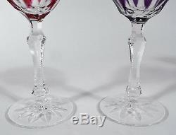 Set of 8 Bohemian Czech Cut Crystal Wine Goblets 4 Purple & 4 Pink 5-1/2 h