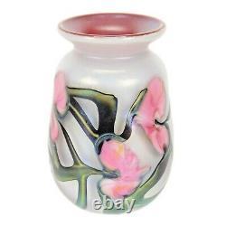 Signed John Lotton Pink Multiflora / White Opal Vase- Signed Dated 1990