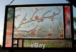 Stained Glass Window Abstract Panel Spring Blossoms pink green turquoise