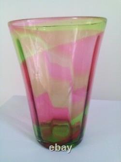Stevens & Williams Art Deco Period Rainbow Glass Vase Rare in Pink & Green