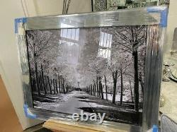 Stunning 106x76cm Silver grey Tree picture 3D glitter art picture mirror frame