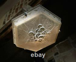 Stunning Art Deco Glass Chandelier Geometric Floral by Muller Freres in Rose