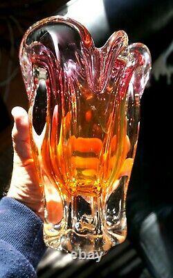 Stunning Murano Pink And Orange Glass Vase