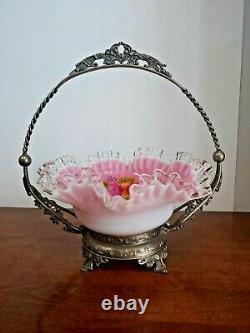 Stunning Silver Crest Pink Cased Handpainted Bride's Basket With Holder