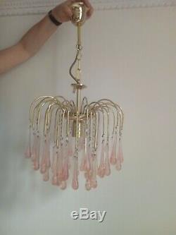 Stunning Vintage Pink Murano Glass Chandelier