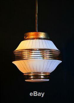 Stunning art deco C-1940s bronze & hand moulded gilt glass pendant light lantern
