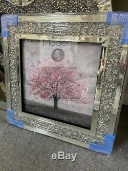 Stunning pink blossom tree 3D glitter art picture in crushed diamond frame