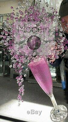 Stunning pink champagne 3D glitter art with champagne flutes in mirrored frame