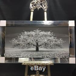 Stunning silver blossom tree 3D glitter art picture mirror frame