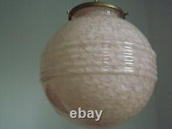 Stylish French Art Deco Pendant Ceiling Light With Pink Vichy Glass Shade 2601