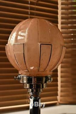 Superb Art Deco table lamp Chrome with pink reeded glass shade c. 1920 M15