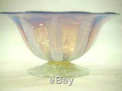 Tiffany LCT Favrile Pastel Pink & White Footed Bowl with Bronze Seal