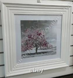 Tree with pink, blue, yellow leaves pictures with liquid art & mirror/WH frames