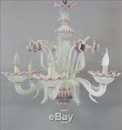 Unusual pink MURANO Glass art Chandelier Mid century retro 6 arms 1960's