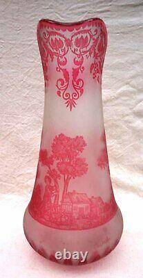 VAL ST LAMBERT French Art Nouveau Cranberry Cameo Glass Juice Set 6 Pcs