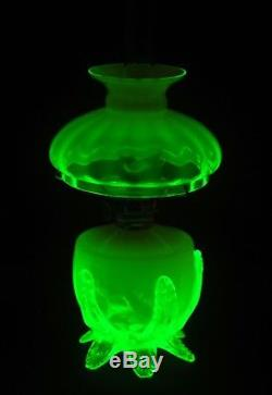 VERY RARE Antique Pink & Green Opalescent Art Glass Miniature Oil Lamp, S1-538