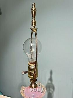 VINTAGE BAROVIER & TOSO MURANO BLOWN GLASS LAMP with LABEL, TASSELS PINK VENETIAN