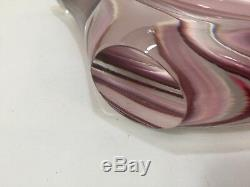 VTG Murano Italian Pink, White & Wine Clear Art Glass Centerpiece Bowl, 16 Wide