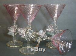 VTG Murano Venetian Italian Art Glass Swirl Pink Figural Martini Glass/s, Mint