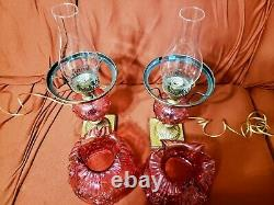 VTG Pair of Fenton Cranberry Cabbage Rose Student Lamp GWTW READ