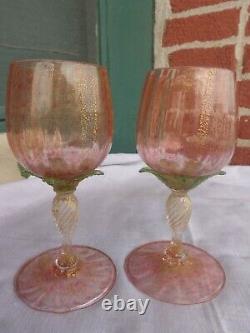 VTG SALVIATI MURANO VENETIAN ART GLASS 1920s PINK GOLD PALM TREE WINE STEM SET
