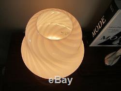 VTG Vetri Murano Italian Glass Antique Pink Pastel Swirl Mushroom Table Lamp 11