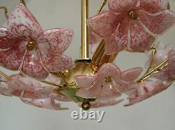 Venini Vintage Italian Murano Art Glass Pink Flowers Chandelier Ceiling Light
