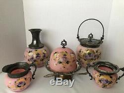 Victorian MOUNT WASHINGTON Pink Satin GLASS SET 5 pcs, Thanksgiving Sale