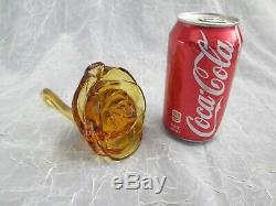 Viking Art Glass AMBER GOLD Rare Gypsy Stemmed Rose Flower 4.5 tall 6.5 long