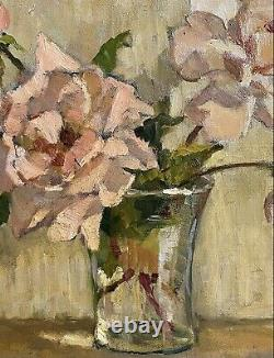 Vintage 1930's French Impressionist Signed Oil Pink Roses In Glass Vase