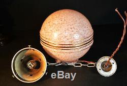 Vintage 1940s art deco antique marbled cased glass & chrome plate pendant light