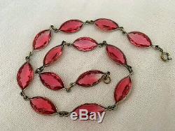 Vintage Antique Art Deco Czech Marquise Pink Paste Crystal Glass Bezel Necklace