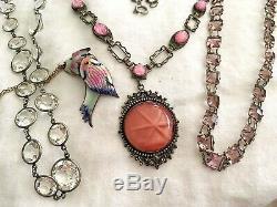 Vintage Antique Art Deco Czech Pink Cabochons Star Burst Glass Bezel Necklace