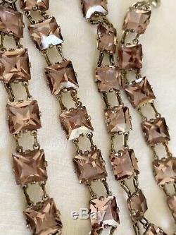 Vintage Antique Art Deco Light Pink Crystal Paste Glass Open Back Bezel Necklace