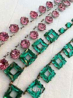 Vintage Antique Art Deco Pink Crystal Paste Glass Bezel Open Back Necklace