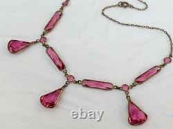Vintage Antique Art Deco Pink Ice Crystal Paste Open Back Bezel Set Necklace