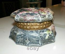 Vintage Antique Kelva Dresser Box Gray & Pink Floral Original Lining 6