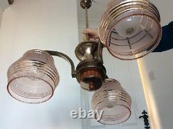 Vintage Art Deco Bakelite Ceiling Light Chandelier Pink Gold Glass Shades