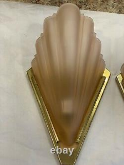 Vintage Art Deco Brass Pink Frosted Glass Wall Sconces Pair Qouizel