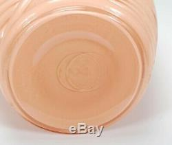 Vintage Art Deco Coral / Pink Ribbed Pleated Drape Tapered Milk Glass Vase