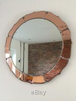 Vintage Art Deco Flower Peach Glass Wall Mirror