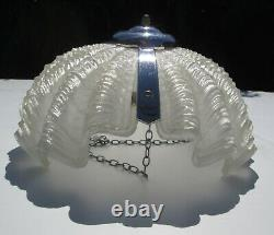 Vintage Art Deco Odeon Style Frosted Glass & Chrome Clam Shell Ceiling Light
